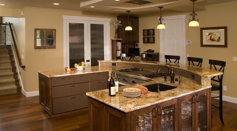 Hardwearing surfaces were on the clients list of cabinetry, countertop, cuisine classique, floor, flooring, hardwood, interior design, kitchen, living room, room, wood flooring, brown
