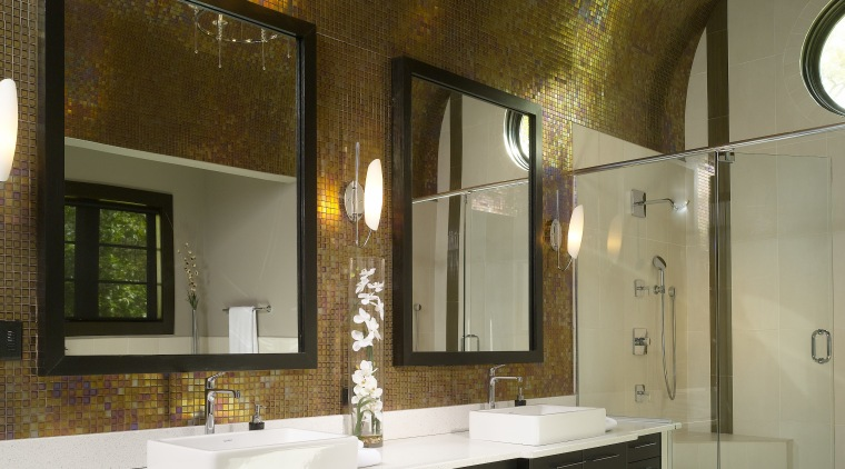 A glass shower stall helps ensure nothing detracts bathroom, ceiling, countertop, home, interior design, room, brown