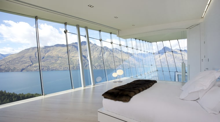 Bedrooms in this hilltop house in Queenstown are architecture, home, house, interior design, property, real estate, window, gray