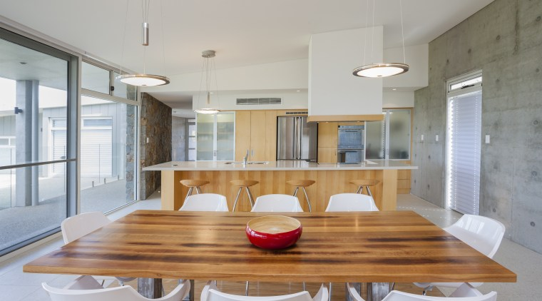 Raw concrete and light wood kitchen architecture, countertop, house, interior design, kitchen, real estate, table, gray