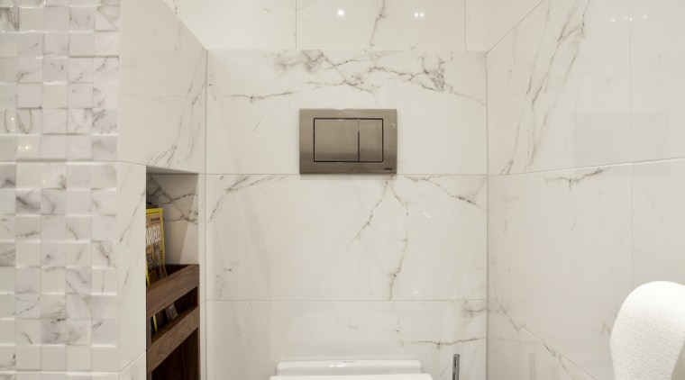 Walnut shelves feature in a niche in a bathroom, bidet, ceramic, floor, interior design, plumbing fixture, product design, room, sink, tap, tile, toilet, toilet seat, wall, gray