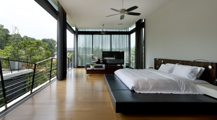 Entire glass walls in this master bedroom can bedroom, ceiling, estate, house, interior design, property, real estate, room, window, gray