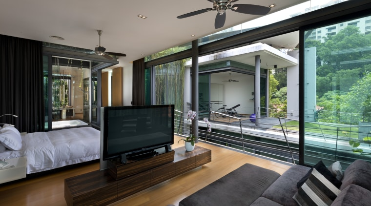 Entire glass walls in this master bedroom can home, house, interior design, living room, property, real estate, window, gray, black