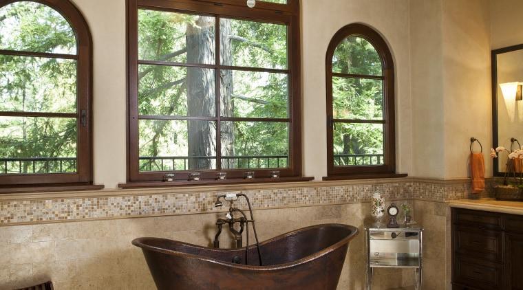 A frieze of mosiac tiles runs along the bathroom, ceiling, estate, floor, flooring, home, interior design, living room, real estate, room, tile, window, wood flooring, orange, brown