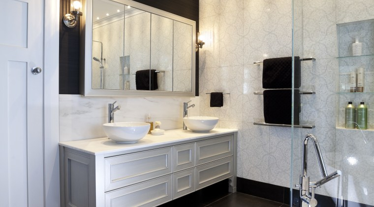 The medicine cabinet has mirrors on both sides bathroom, ceiling, countertop, floor, home, interior design, kitchen, room, sink, gray