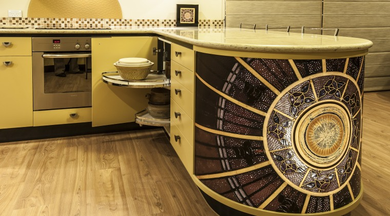 Nicola Cumming Design black and butterscotch kitchen floor, flooring, furniture, table, orange, brown