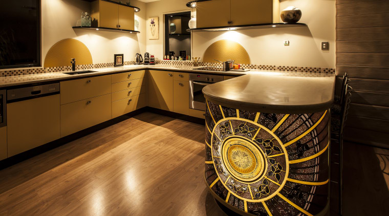 Nicola Cumming Design black and butterscotch kitchen floor, flooring, interior design, kitchen, room, wood, brown, black, orange