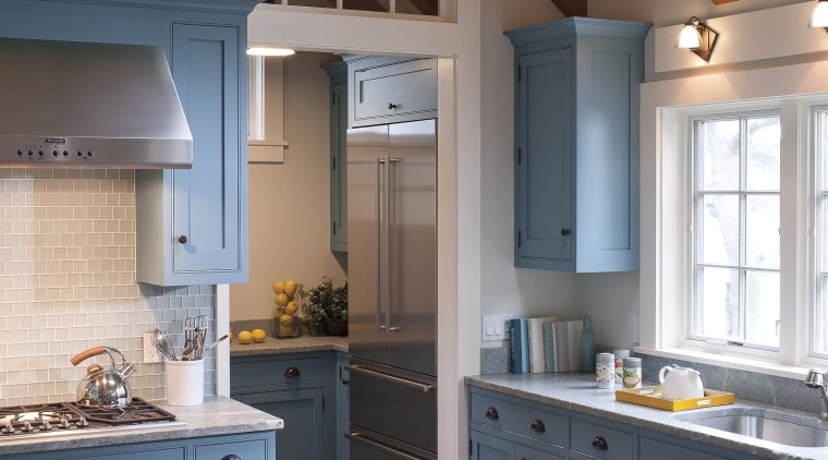 Interior designer Elizabeth Swartz has repurposed a rear cabinetry, ceiling, countertop, cuisine classique, daylighting, home, interior design, kitchen, real estate, room, gray