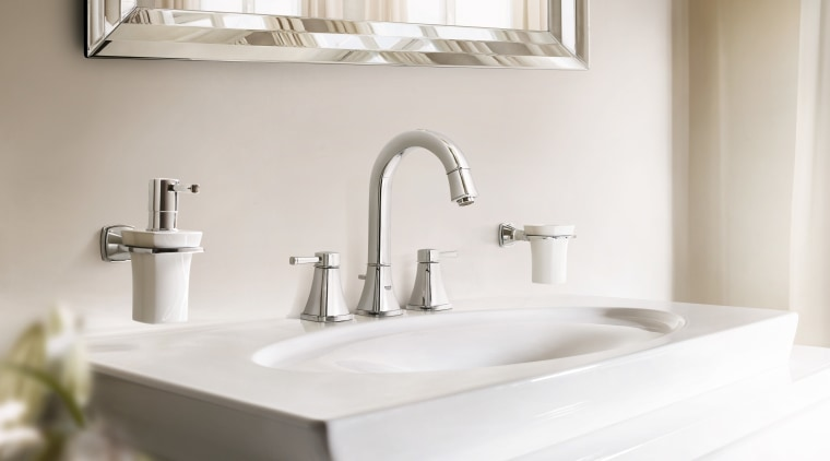 the new Grandera collection from Grohe merges square bathroom, bathroom accessory, bathroom sink, ceramic, countertop, interior design, plumbing fixture, product design, sink, tap, white