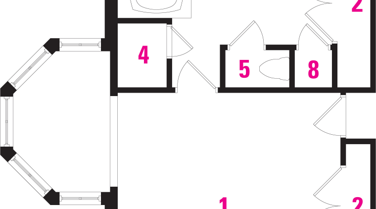 Plans: 1 bedroom area, 2 closet,3 bathtub, 4 area, design, drawing, font, line, product, product design, square, technology, white, white