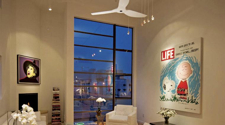 Haiku fan offers quiet, smooth operation ceiling, exhibition, home, interior design, room, window, brown, orange