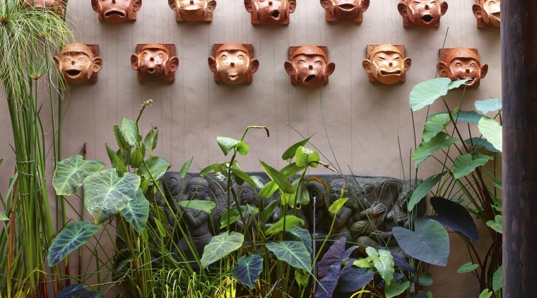 The monkey-face sculptures are another Asian cultural reference grass, leaf, organism, plant, gray