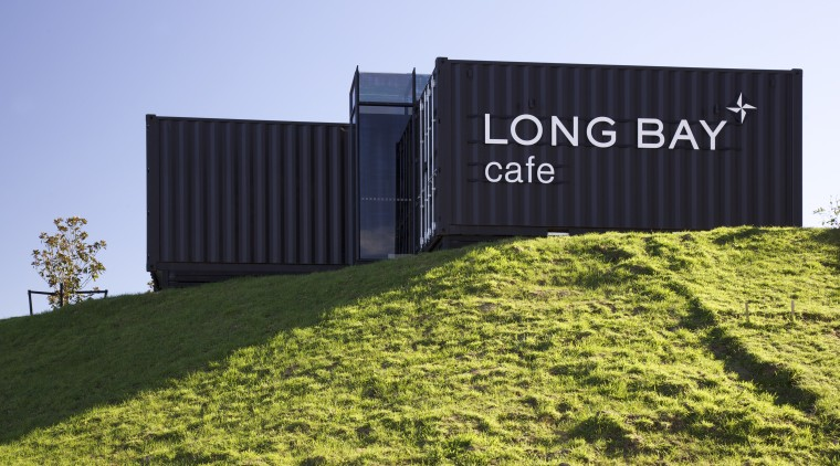 Four containers were linked to create this innovative architecture, energy, facade, grass, property, real estate, teal