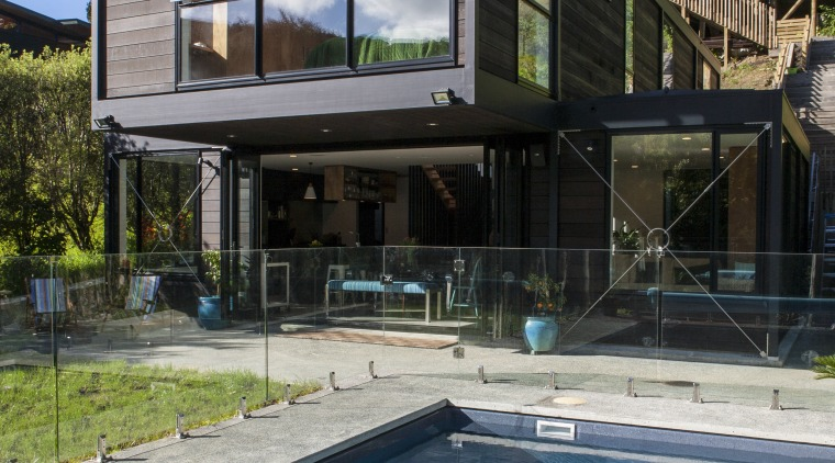 On the surface  Resene CoolColour - On architecture, estate, facade, home, house, property, real estate, reflection, residential area, swimming pool, villa, window, teal