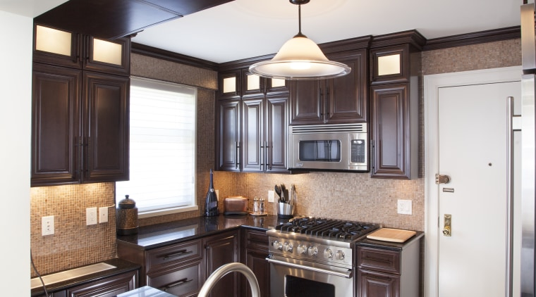 To open up this small kitchen to the cabinetry, countertop, cuisine classique, home, interior design, kitchen, living room, real estate, room, white, black