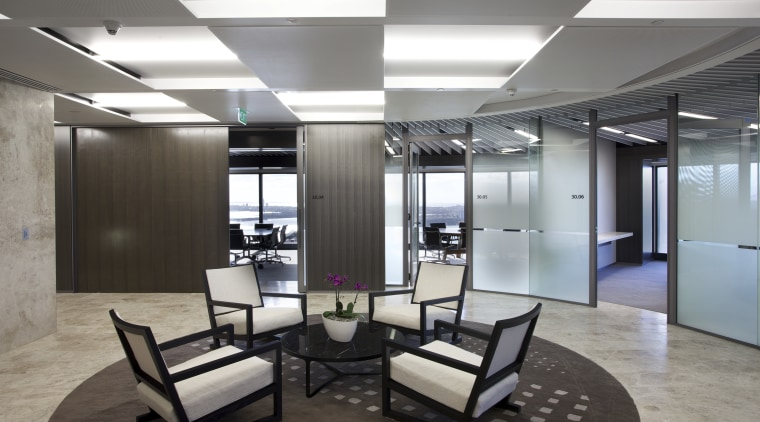 Metal Concepts provided sculptural ceilings for the ANZ ceiling, floor, interior design, lobby, office, gray, black
