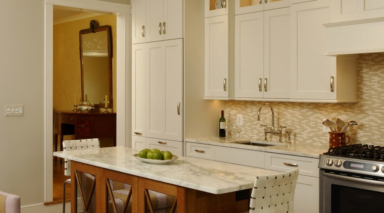 This remodel has turned a cramped galley kitchen cabinetry, ceiling, countertop, cuisine classique, interior design, kitchen, living room, room, orange, brown