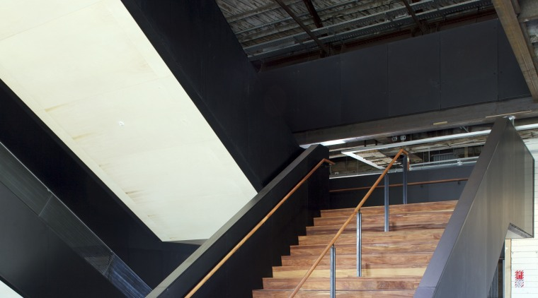 Quantity surveyor Maltbys work on Shed 10 architecture, building, daylighting, handrail, stairs, structure, tourist attraction, wood, black