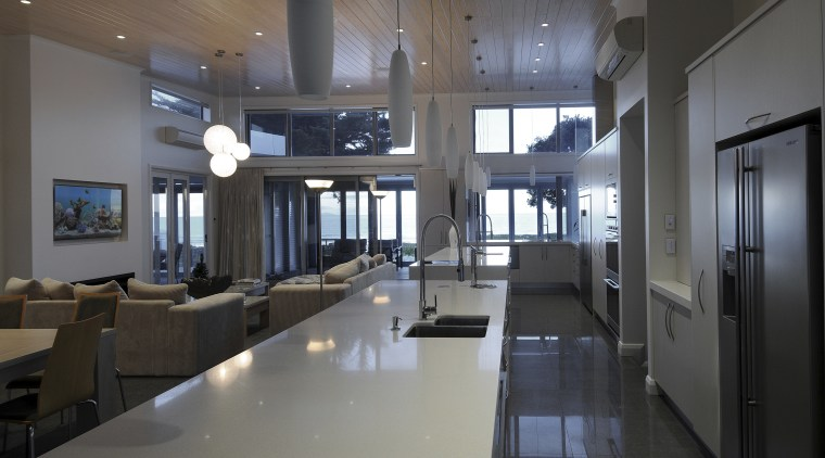 New beach house with F &  P ceiling, daylighting, interior design, lobby, gray, black