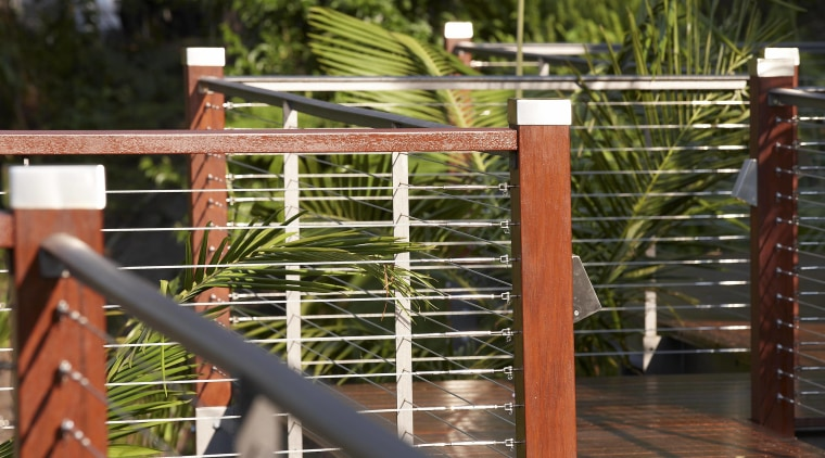 Contemporary outdoor boardwalk fence, handrail, outdoor structure, tree, wood, brown