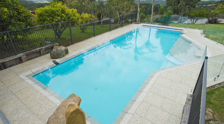 This new in ground pool by Mayfair Pools backyard, estate, leisure, property, real estate, resort, swimming pool, water, water resources, gray