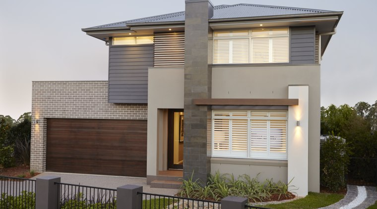 Refined street appeal  the Kempsey design from architecture, building, elevation, facade, home, house, official residence, property, real estate, residential area, roof, siding, gray