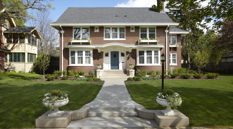 Built in 1912, this house has more than backyard, building, cottage, estate, facade, farmhouse, grass, historic house, home, house, landscaping, lawn, mansion, neighbourhood, outdoor structure, property, real estate, residential area, suburb, walkway, yard, brown