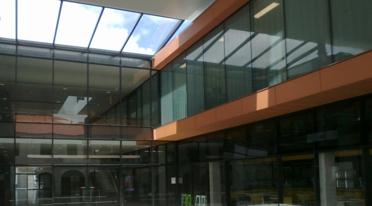 Miller Design was responsible for the fabrication and architecture, building, commercial building, corporate headquarters, daylighting, facade, glass, metropolitan area, structure, black, gray