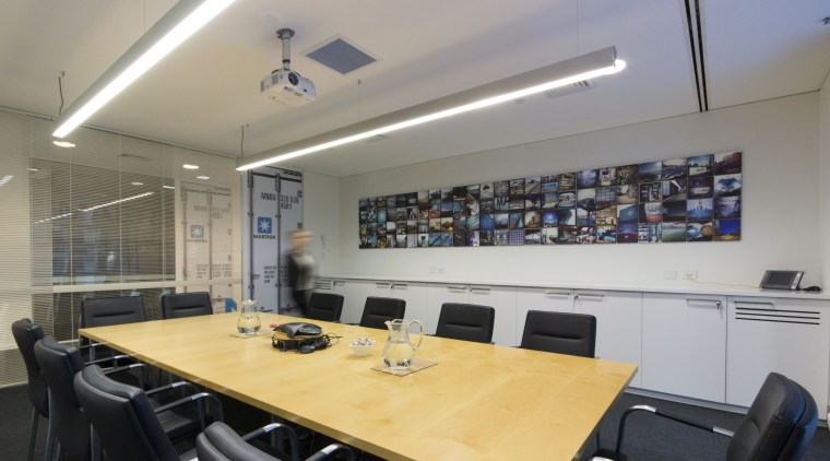 Bold, bright and with several surprise elements, the ceiling, conference hall, interior design, real estate, table, gray