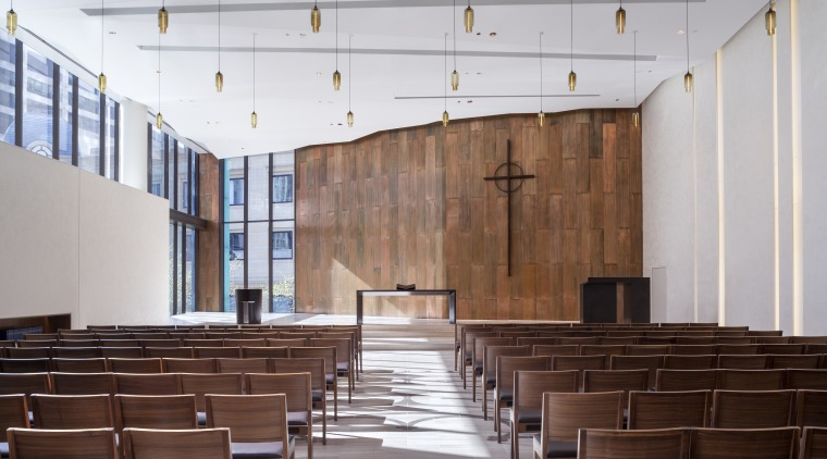 A copper wall features on the inside of architecture, auditorium, conference hall, furniture, interior design, gray