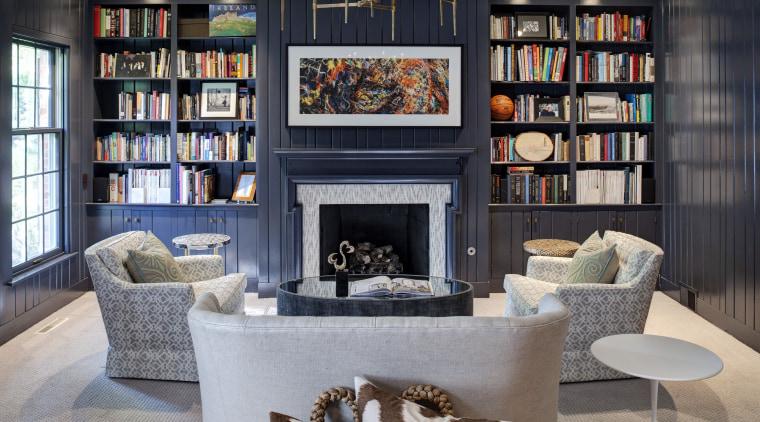 Modern urban interior furniture, hearth, home, interior design, living room, room, shelving, gray, black