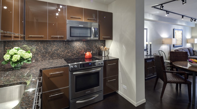 Warm tones help this remodeled kitchen by SemelSnow cabinetry, countertop, cuisine classique, home appliance, interior design, kitchen, real estate, room, gray, black