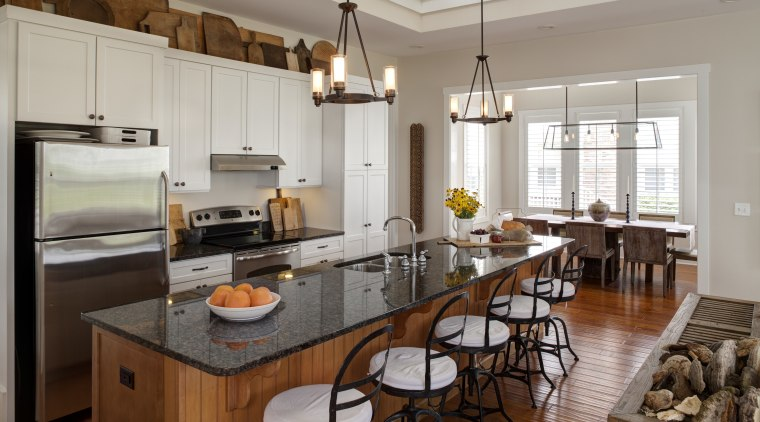 Kitchen in Amish style new home cabinetry, countertop, cuisine classique, interior design, kitchen, room, gray, brown