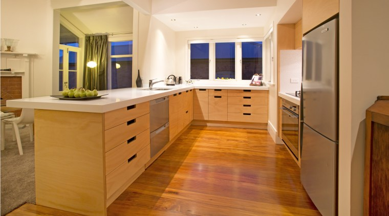 Toni Roberts kitchen with Fisher & Paykel appliances cabinetry, countertop, cuisine classique, floor, flooring, hardwood, interior design, kitchen, real estate, room, wood, wood flooring, orange, brown