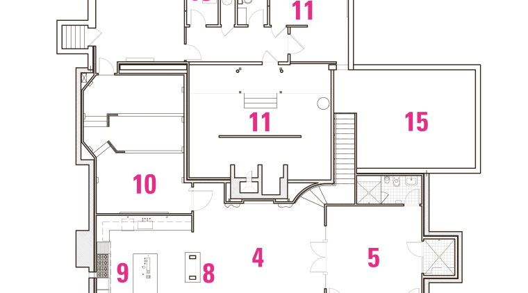 Legend to plan: 1 bar, 2 wine cellar, area, design, diagram, floor plan, line, plan, product, product design, white