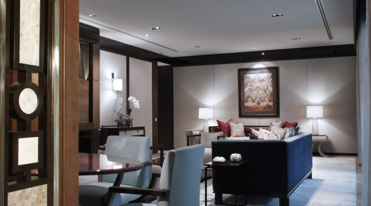 Table lamps cast an attractive ambient glow on ceiling, interior design, room, suite, black, gray