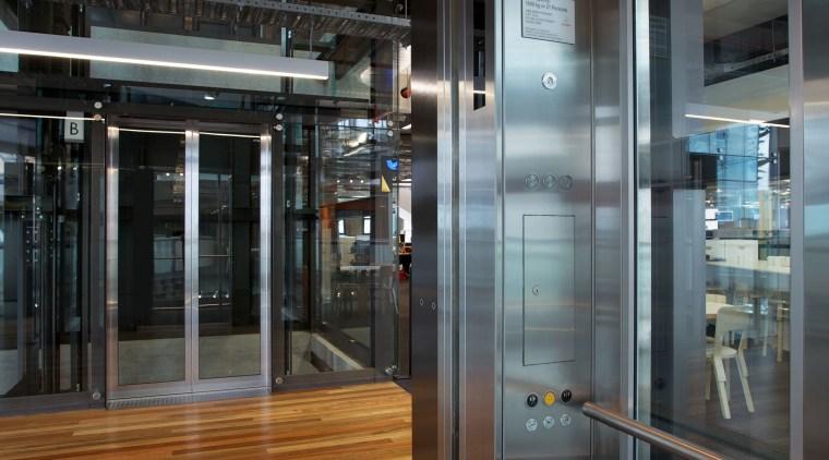 Schindler Lifts NZ supplied and installed three Schindler door, glass, interior design, black