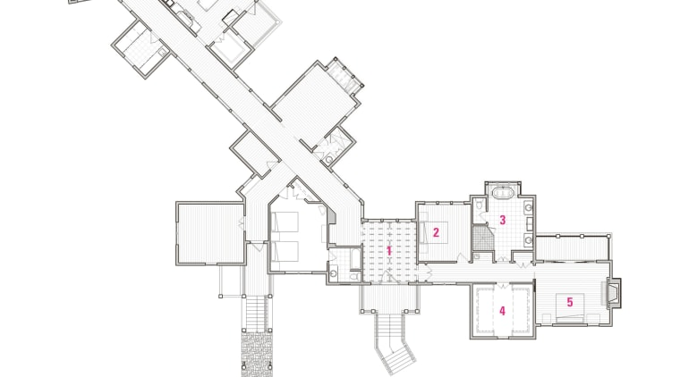 Legend to plan of master suite: 1 foyer, angle, architecture, area, design, diagram, drawing, floor plan, line, plan, product, product design, structure, white