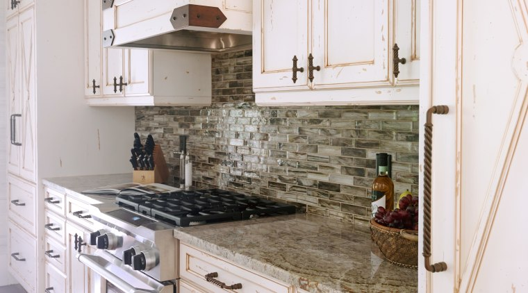 A backsplash with the look of frozen water, cabinetry, countertop, cuisine classique, floor, flooring, home, interior design, kitchen, room, white