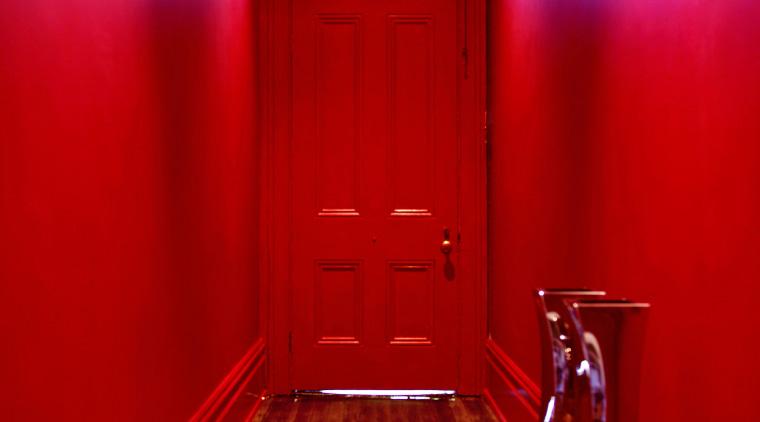 A lively palette of Resene colours has transformed floor, flooring, interior design, light, lighting, red, room, wood, red