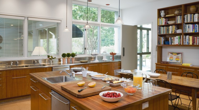 Three different countertop materials feature in this kitchen, countertop, interior design, kitchen, room, window, gray, brown