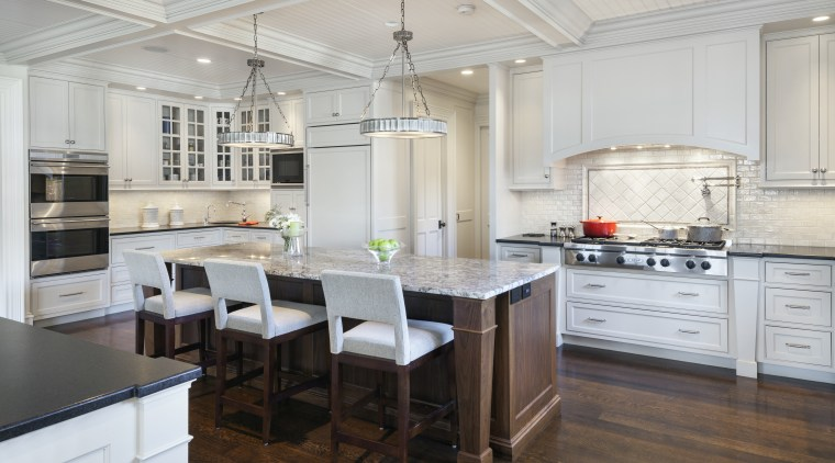 The coffered ceiling with rustic beadboard panels and cabinetry, countertop, cuisine classique, floor, flooring, interior design, kitchen, room, wood flooring, gray