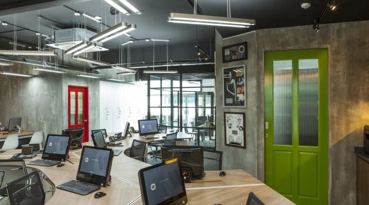 A green door creates a pop of colour interior design, office, black, gray