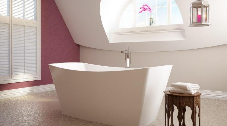 BainUltra Evanescence therapeutic bath has smooth flowing lines bathroom, bathroom sink, ceramic, floor, flooring, interior design, plumbing fixture, product, product design, room, sink, tap, tile, gray