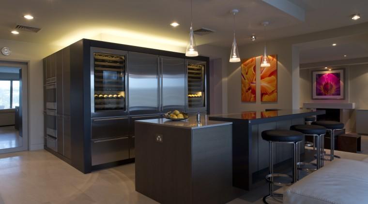 Sleek, contemporary German kitchen countertop, interior design, kitchen, room, black, brown