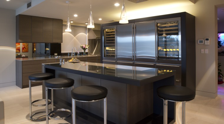 Sleek, contemporary German kitchen countertop, interior design, kitchen, black, brown
