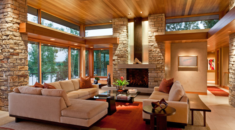 Modern lakeside home ceiling, estate, hardwood, home, house, interior design, living room, real estate, room, wall, wood, brown