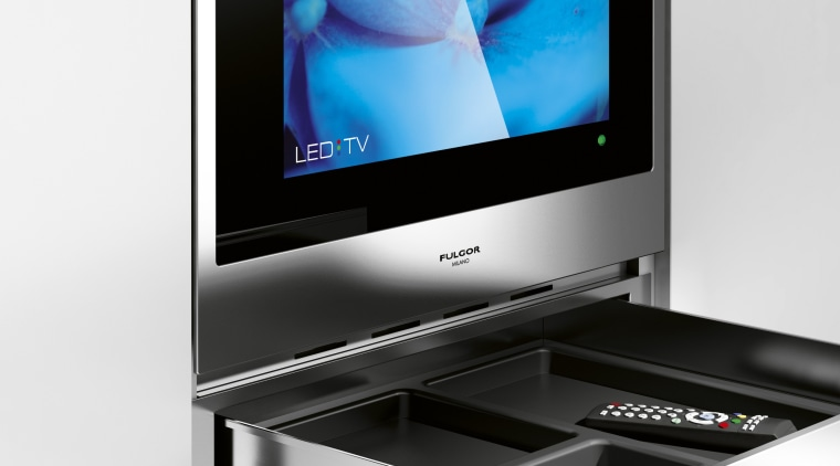 Fulgor Milano is a new Italian appliance collection display device, flat panel display, furniture, media, multimedia, product, product design, screen, technology, television, white