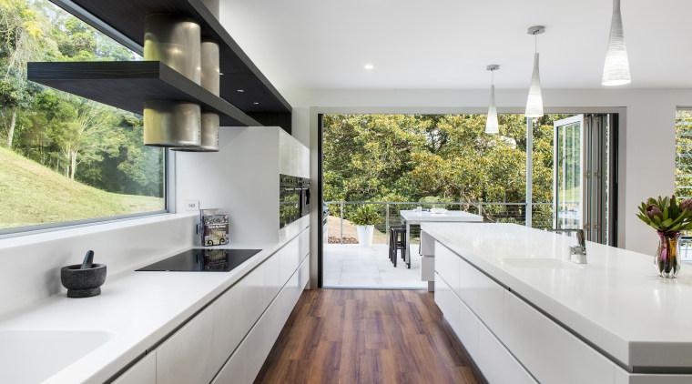 Contemporary kitchen with Smeg appliances architecture, countertop, home, house, interior design, kitchen, real estate, window, gray, white