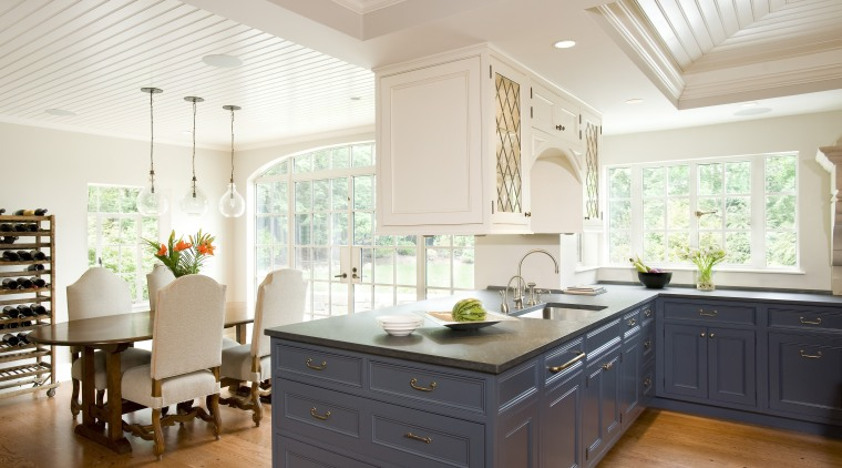 New arched glass doors allow plenty of light cabinetry, ceiling, countertop, cuisine classique, home, interior design, kitchen, room, gray